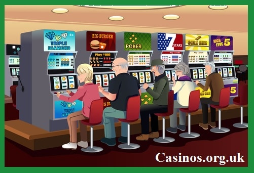Sitting on Chair Playing Slots