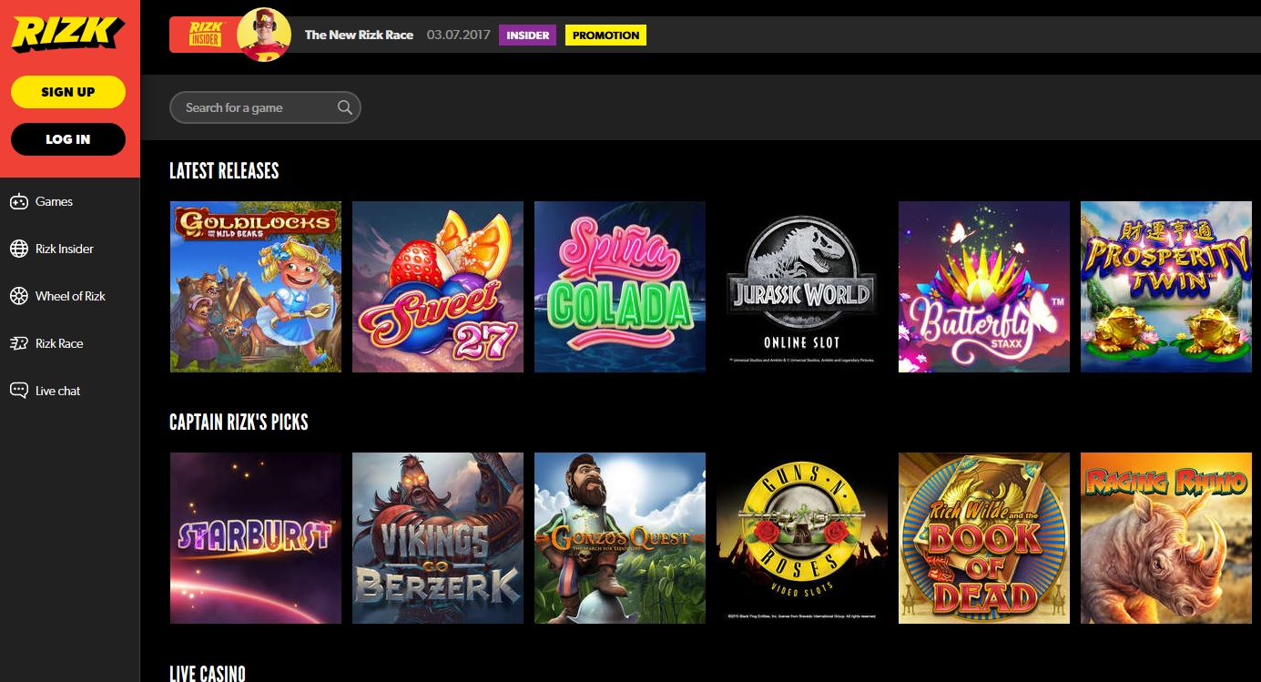rizk screenshot