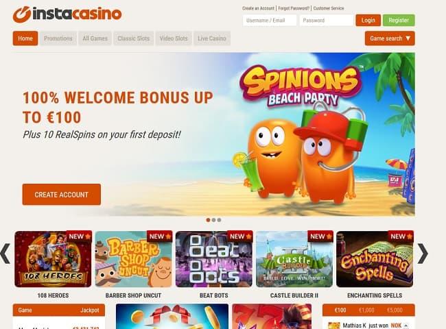 insta casino lobby screenshot