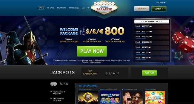 jackpot paradise casino lobby screenshot
