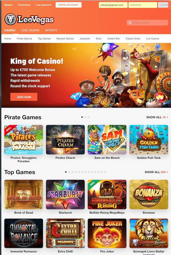 Leo Vegas Casino screenshot 2