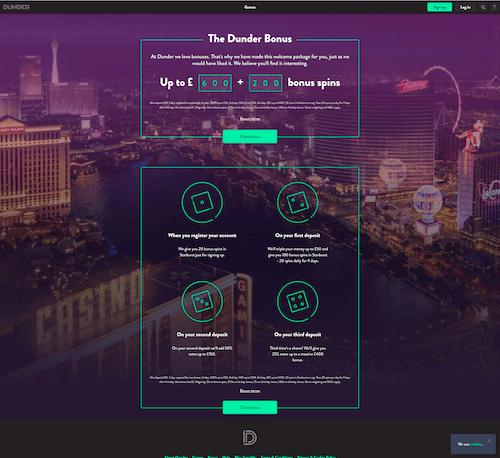 Dunder Casino screenshot 2