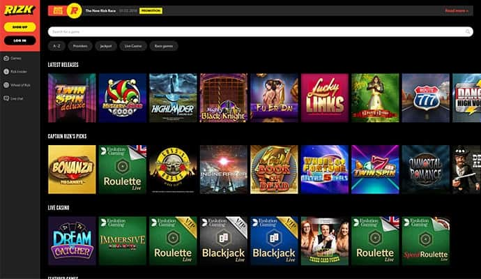 Rizk Casino screenshot 2