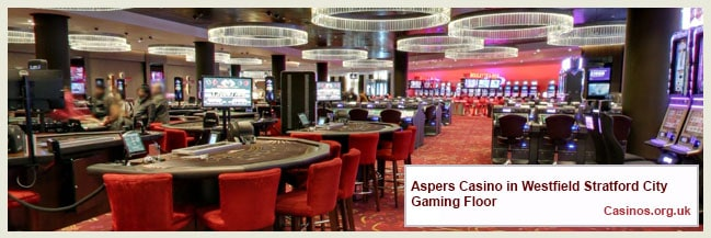 Aspers Casino in Westfield Stratford City Gaming Floor
