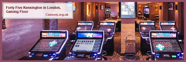 Forty Five Kensington in London Gaming Floor